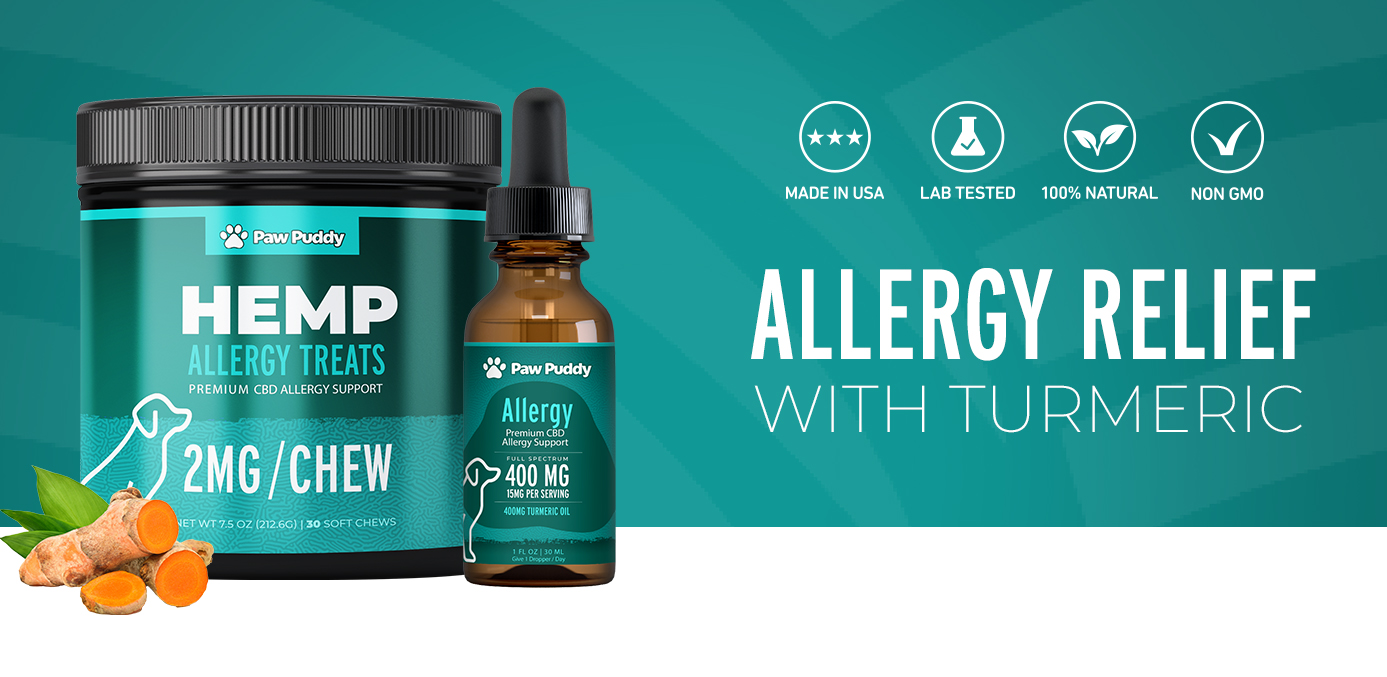 CBD Paw Puddy products for allergy relief for dogs